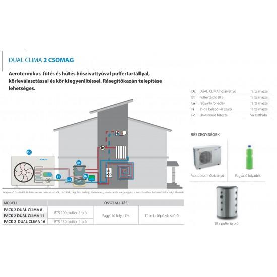 50%-os állami támogatási rendszerrel megvalósítható 16 kW-os Levegő-Víz hőszivattyús rendszer fűtésre, hűtésre, komplett beüzemeléssel