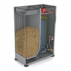 HTP 100-150 tüzelőanyag tartály, és használati melegvíz tartály BioClass pellet kazánhoz