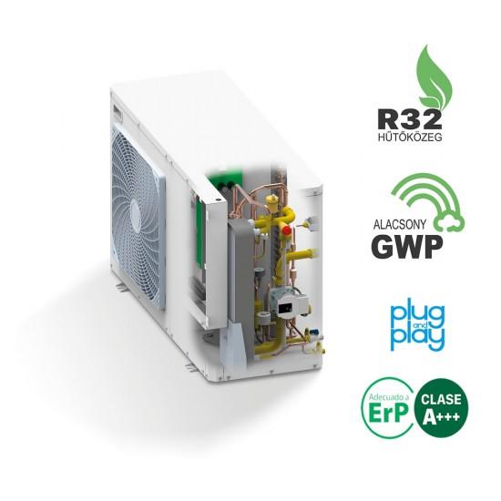 57 kW-os 3 fázisú Levegő-Víz hőszivattyús rendszer fűtésre, hűtésre, komplett beüzemeléssel