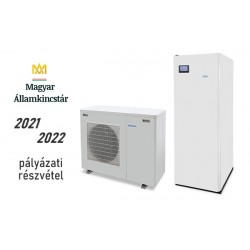 6 kW-os Levegő-Víz hőszivattyús rendszer fűtésre, hűtésre, használati melegvíz ellátásra helytakarékos tartállyal, komplett beüzemeléssel