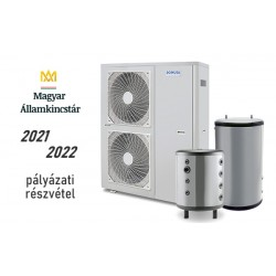 19 kW-os 1 fázisú Levegő-Víz hőszivattyús rendszer fűtés, hűtés, és használati melegvíz ellátásra komplett beüzemeléssel