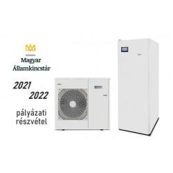 12 kW-os Levegő-Víz hőszivattyús rendszer fűtésre, hűtésre, és használati melegvíz ellátásra, helytakarékos tartállyal, komplett beüzemeléssel
