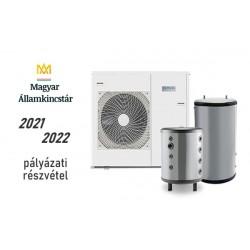 12 kW-os Levegő-Víz hőszivattyús rendszer fűtés, hűtés, és használati melegvíz ellátásra komplett beüzemeléssel