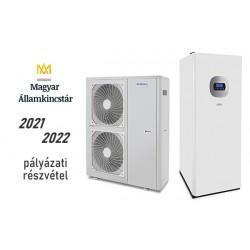 19 kW-os 1 fázisú Levegő-Víz hőszivattyús rendszer fűtésre, hűtésre, és használati melegvíz ellátásra, helytakarékos tartállyal, komplett beüzemeléssel