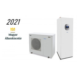 8 kW-os Levegő-Víz hőszivattyús rendszer fűtésre, hűtésre, használati melegvíz ellátásra helytakarékos tartállyal, komplett beüzemeléssel