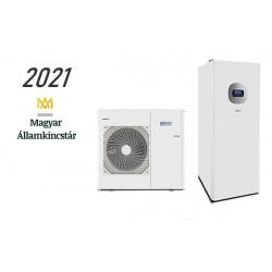 11 kW-os Levegő-Víz hőszivattyús rendszer fűtésre, hűtésre, használati melegvíz ellátásra, helytakarékos tartállyal, és komplett beüzemeléssel