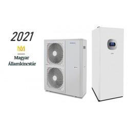 16 kW-os Levegő-Víz hőszivattyús rendszer fűtésre, hűtésre, használati melegvíz ellátásra helytakarékos tartállyal, komplett beüzemeléssel