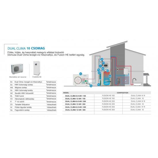 9 kW-os Levegő-Víz hőszivattyús rendszer fűtésre, hűtésre, használati melegvíz ellátásra kisebb épületekbe, esztétikus kompakt tartállyal komplett beüzemeléssel