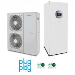 16 kW-os Levegő-Víz hőszivattyús rendszer fűtésre, hűtésre, használati melegvíz ellátásra, helytakarékos tartállyal, és komplett beüzemeléssel