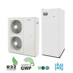 16 kW-os 1 fázisú Levegő-Víz hőszivattyús rendszer fűtésre, hűtésre, és használati melegvíz ellátásra, helytakarékos tartállyal, komplett beüzemeléssel