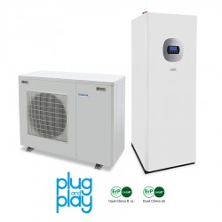 8 kW-os Levegő-Víz hőszivattyús rendszer fűtésre, hűtésre, használati melegvíz ellátásra, helytakarékos tartállyal, és komplett beüzemeléssel