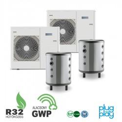 24 kW-os 1 fázisú Levegő-Víz hőszivattyús rendszer fűtésre, hűtésre, komplett beüzemeléssel