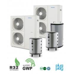 32 kW-os 1 fázisú Levegő-Víz hőszivattyús rendszer fűtés, hűtés, és használati melegvíz ellátásra komplett beüzemeléssel