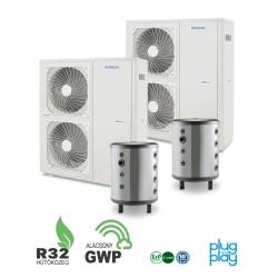 32 kW-os 1 fázisú Levegő-Víz hőszivattyús rendszer fűtésre, hűtésre, komplett beüzemeléssel