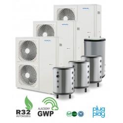 48 kW-os 1 fázisú Levegő-Víz hőszivattyús rendszer fűtés, hűtés, és használati melegvíz ellátásra komplett beüzemeléssel