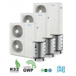 48 kW-os 1 fázisú Levegő-Víz hőszivattyús rendszer fűtésre, hűtésre, komplett beüzemeléssel