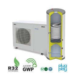 6 kW-os Levegő-Víz hőszivattyús rendszer fűtésre, hűtésre, használati melegvíz ellátásra kisebb épületekbe, esztétikus kompakt tartállyal komplett beüzemeléssel